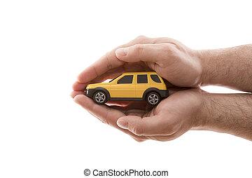 darabka, autó, elszigetelt, protection., sárga háttér, kézbesít, kicsi, befedett, fehér, út