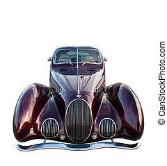 darabka, classic autó, elszigetelt, white., included., út, retro