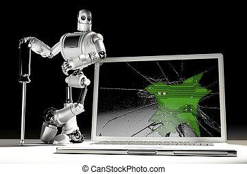 darabka, concept., tartalmaz, laptop., törött, technikus, út, technológia