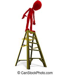 darabka, felett, ikon, toon, tető, betű, ladder., vakolás, út, white hím, árnyék, 3