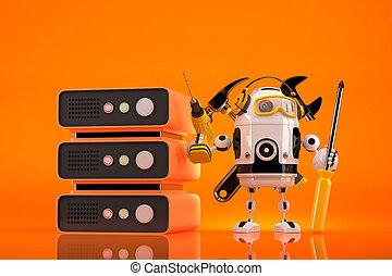 darabka, tartalmaz, robot, server., fenntartás, technikus, út