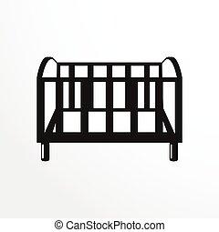 darabok, közül, furniture., crib.