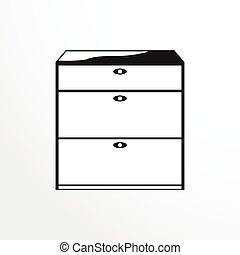 darabok, közül, furniture., fehérnemű, drawers.