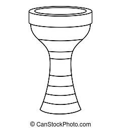 Darbuka, musical instrument icon, outline style - Darbuka,...