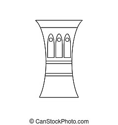 Darbuka, percussive musical instrument icon in outline style...