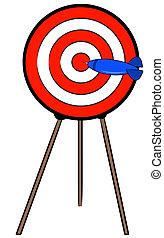 dard, stand, bullseye, cible, frapper