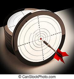 dardo, alvo, mostra, focalizado, sucedido, objetivo