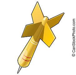 dardo, alvo, objetivo, amarela, ilustração