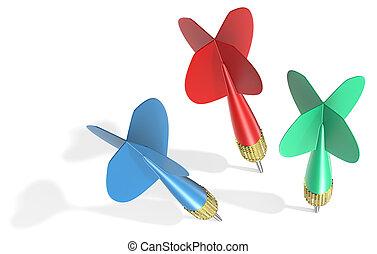 dardo, três, arrows.