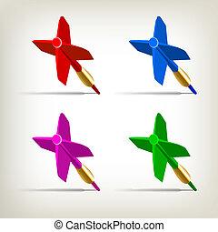 dardos, 4, cores