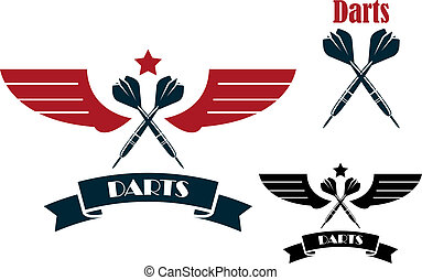 dardos, emblemas, e, símbolos