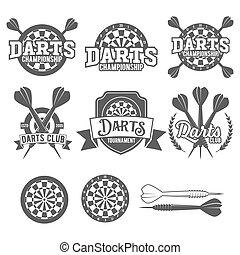 dardos, etiquetas, jogo, emblema, vetorial, logotipos