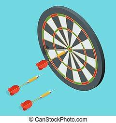 dards, cible, icon., dards, flèches, dans, les, cible, center., dards, cible, plat, 3d, isométrique, vecteur, illustration.