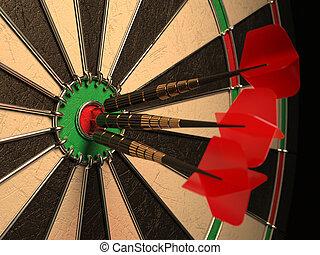 dards, flèches, dans, les, cible, centre