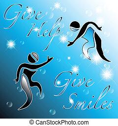 dare, aiuto, dare, smiles:, astratto, fondo