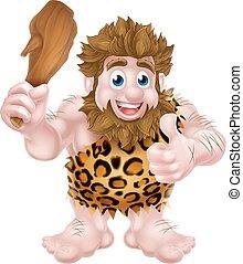dare, caveman, pollici, cartone animato