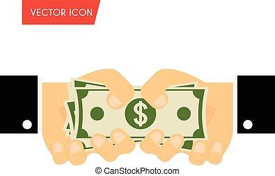 dare, donazione, finanziamento, illustrazione, mano, soldi., giorno paga, vettore, contanti, uomo affari, concepts., ricevimento, bustarella
