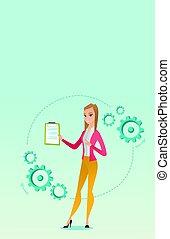 dare, donna, presentation., affari
