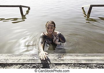 dare, fango, donna, se stesso, bagno