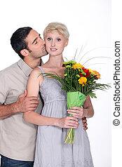 dare, fiori, uomo, moglie