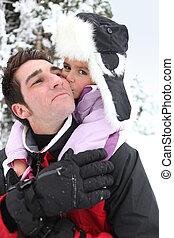 dare, padre, cavalluccio, figlia, neve