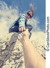 dare, porzione, mano., arrampicatore, femmina