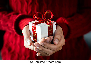 dare, regalo, natale, tema, allegro