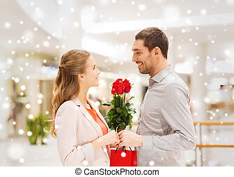 dare, rose, centro commerciale, uomo, rosso, donna, presente