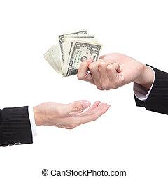 dare, soldi, a, un altro