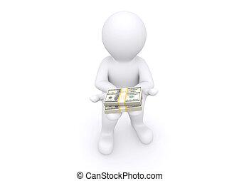 dare, soldi., bianco, 3d, lei, uomo