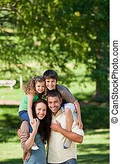 dare, spalle, genitori, bambini
