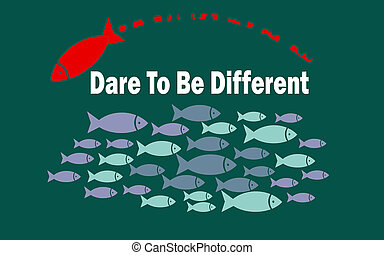 Dare to be different success concept with small fishes group, 3D rendering
