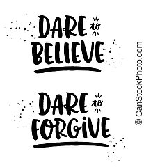 Dare to Believe, Dare to Forgive Faith Typography Set