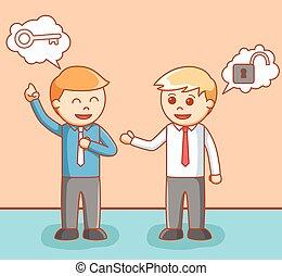 dare, uomo idea, affari, illustrat