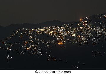 darjeeling, imagen, noche