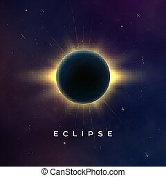 Dark abstract background with a solar eclipse. Total eclipse of the sun. Realistic vector illustration