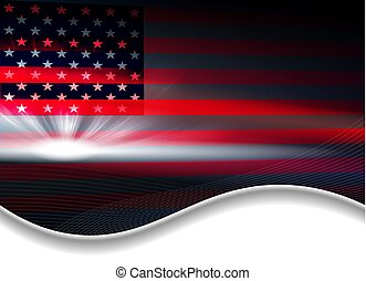 Dark abstract background with a USA flag.