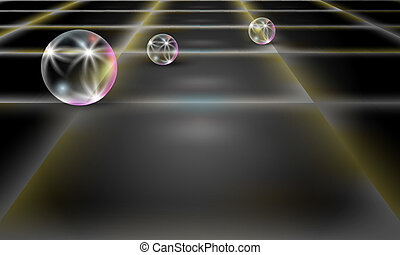 dark abstract background with perspective cubes and transparent bubble