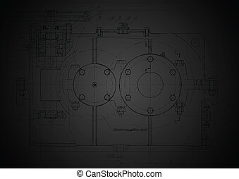 Dark abstract engineering drawing