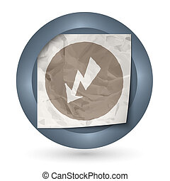 dark abstract icon with crumpled paper and flash
