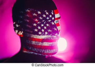 dark., adulte, usa, sien, face homme, drapeau