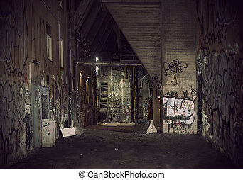 Dark alley - Dark vintage grunge alley with graffiti