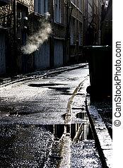 Dark alley in a rain shower