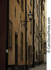 Dark alley in Stockholm old town