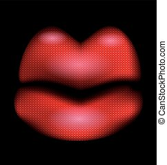 dark and abstract red lips - dark background and abstract...