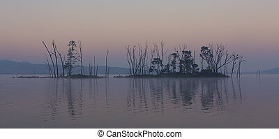 Dark and gloomy landscape of an island on a lake