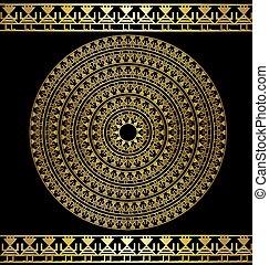 dark and golden circle - dark background with golden frame...