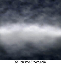 Dark and misty - Editable vector illustration of clouds over...