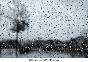 Dark and rainy day; raindrops on the windshield; tree shapes visible in the background; black and white