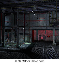 dark and scary place in a scifi setting. 3D rendering with ...